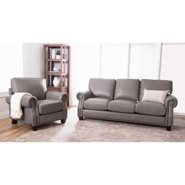 Abbyson Landon Top Grain Leather 2 Piece Living Room Set