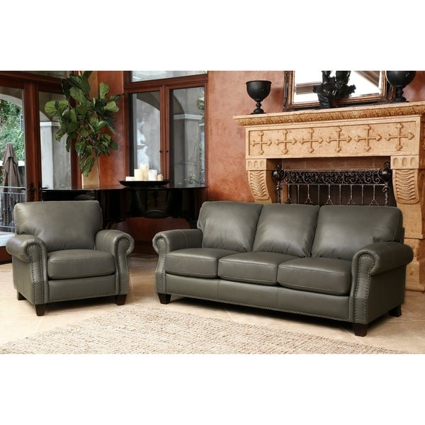 abbyson landon top grain leather 2 piece living room set free shipping today overstock