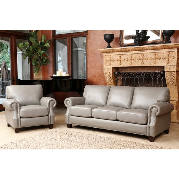 Abbyson landon top grain leather 2 piece living room set for 8 piece living room furniture set