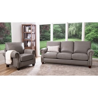 Abbyson Landon Top Grain Leather Sofa and Armchair