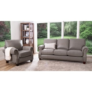 Abbyson Landon Top Grain Leather 2 Piece Living Room Set