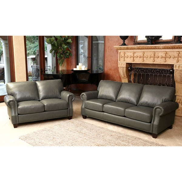 Furniture With Free Shipping: Abbyson Landon Top Grain Leather Sofa And Loveseat