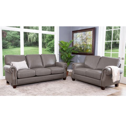 Abbyson Landon Top Grain Leather Sofa and Loveseat