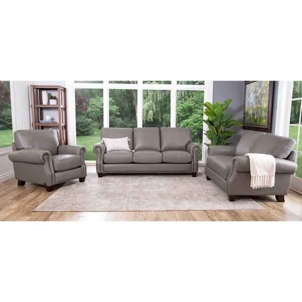 Shop Abbyson Landon Top Grain Leather 3 Piece Living Room Set On