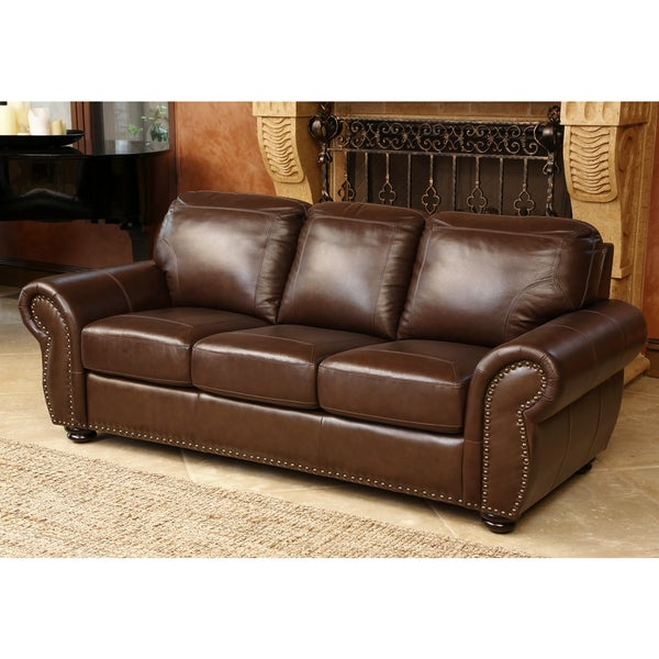 Abbyson Living Bellavista Top Grain Leather Sofa Free Shipping