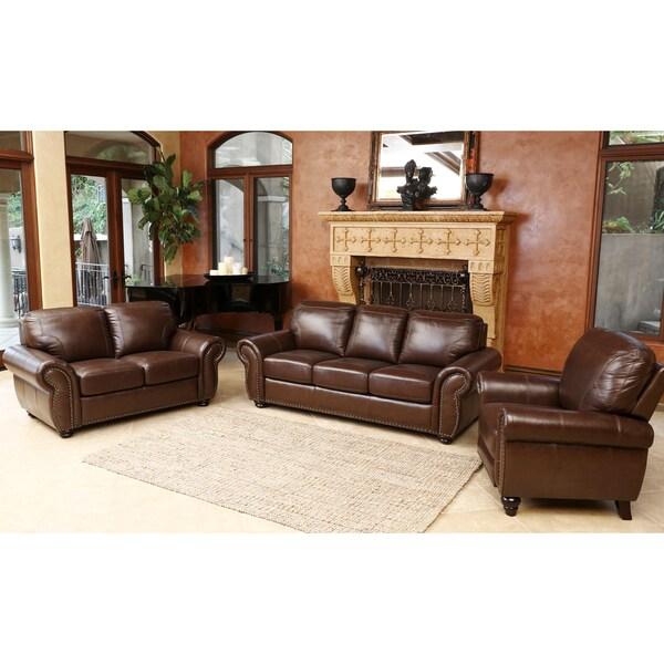Shop Abbyson Bellavista Top Grain Leather 3 Piece Living