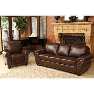 Abbyson Bellavista Top Grain Leather Sofa And Recliner Set