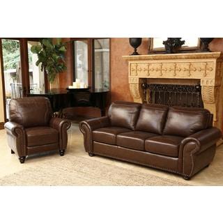 abbyson bellavista top grain leather sofa and recliner set - Leather Sofa