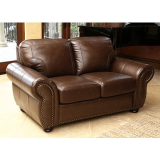 Abbyson Bellavista Top Grain Leather Loveseat