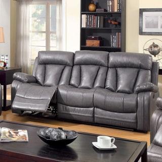 Furniture of America Hurshel Grey Faux Leather Reclining Sofa