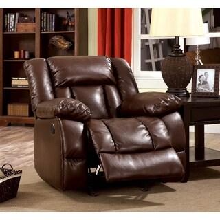 Furniture of America Brentan Dark Brown Bonded Leather Recliner
