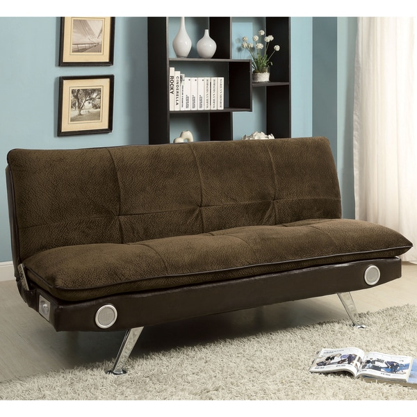 Furniture of america thrain modern 2 tone futon sofa with for American home furniture futon