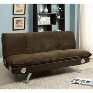 Furniture of America Thrain Modern 2-Tone Futon Sofa with Bluetooth Speakers