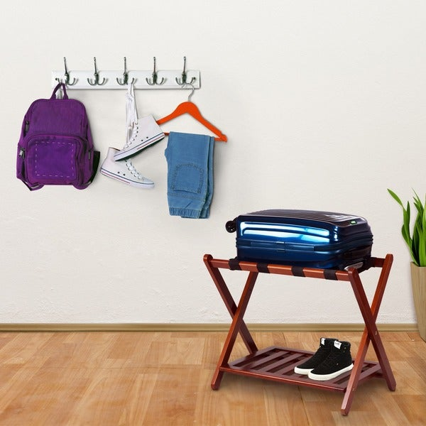 Shop Hotel Style Luggage Rack With Shelf Free Shipping