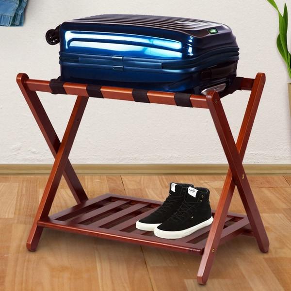 Hotel-style Luggage Rack with Shelf