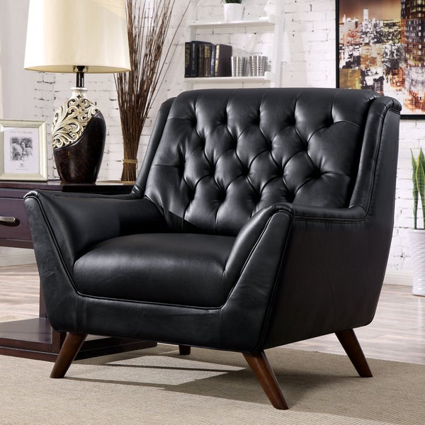 Furniture of America Kily Mid-century Faux Leather Padded Club Chair