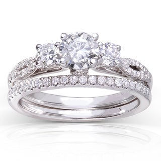 Annello 14k White Gold 7/8ct TDW Round-cut Diamond Bridal Set (H-I, I1-I2)