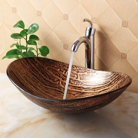 Elite 1212+882002 Unique Oval Bathroom Tempered Boat Shape Glass Vessel Sinkwith Faucet Combo