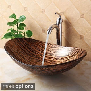 Elite 1212+882002 Unique Oval Bathroom Tempered Boat Shape Glass Vessel Sink with Faucet Combo