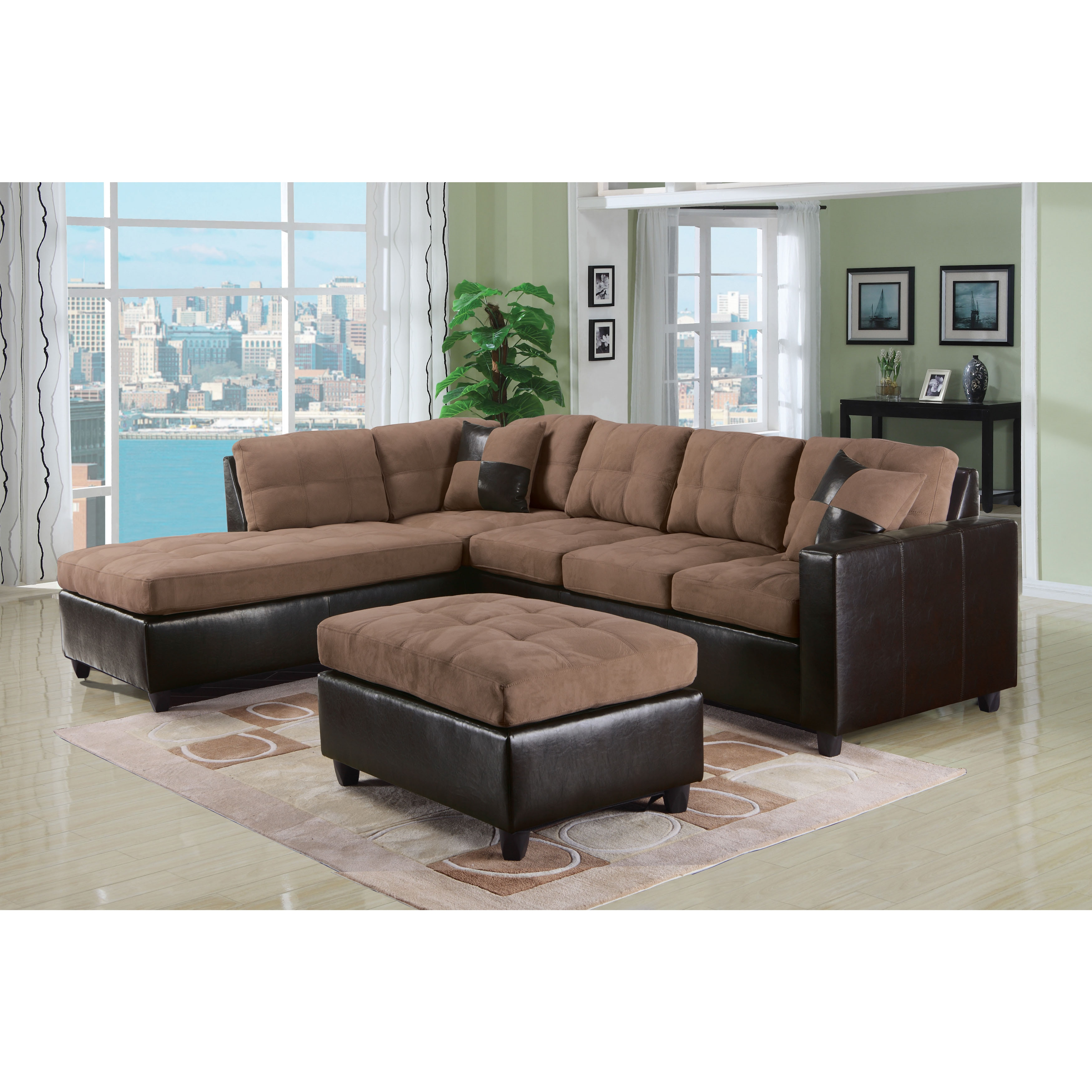 ACME Milano Reversible Sectional Sofa in Chocolate Easy R...