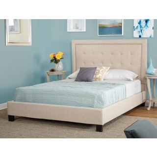 Simple Living Cortina Linen Upholstered Beige Queen Bed