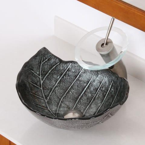 Elite Tempered Winter Leaf Design Bathroom Glass Vessel Sink & Brushed Nickel Waterfall Faucet