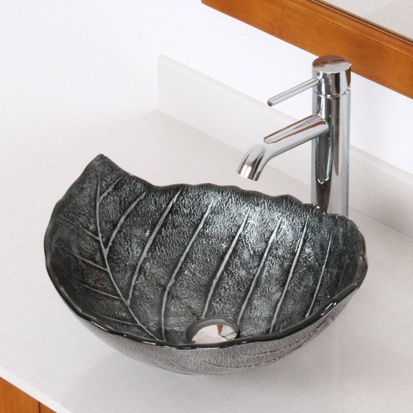 Elite Winter/ F371023 Tempered Glass Leaf Design Bathroom Vessel ...