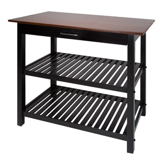Kitchen Island with Natural Solid Wood Top (Option: Black)