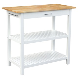 Kitchen Island with Natural Solid Wood Top (Option: White)