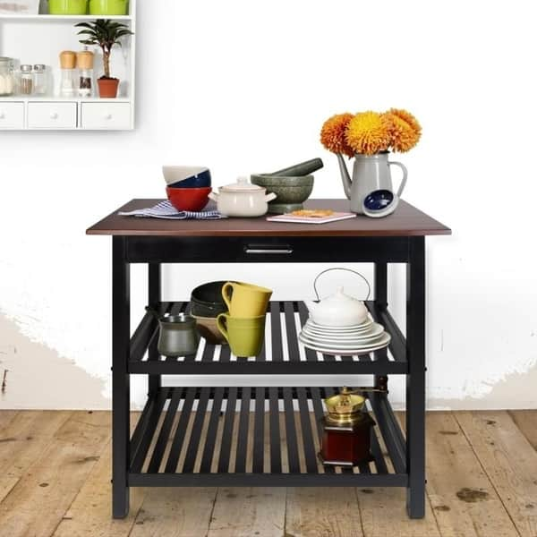 Shop Kitchen Island with Natural Solid Wood Top - Free ...