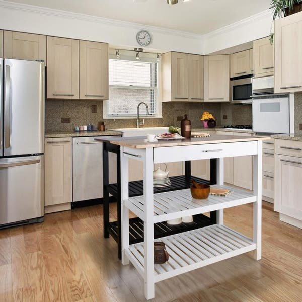 Shop Kitchen Island with Natural Solid Wood Top - N/A - Free ...