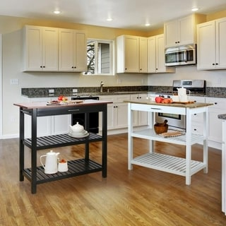 White Kitchen Island with Natural Solid Wood Top