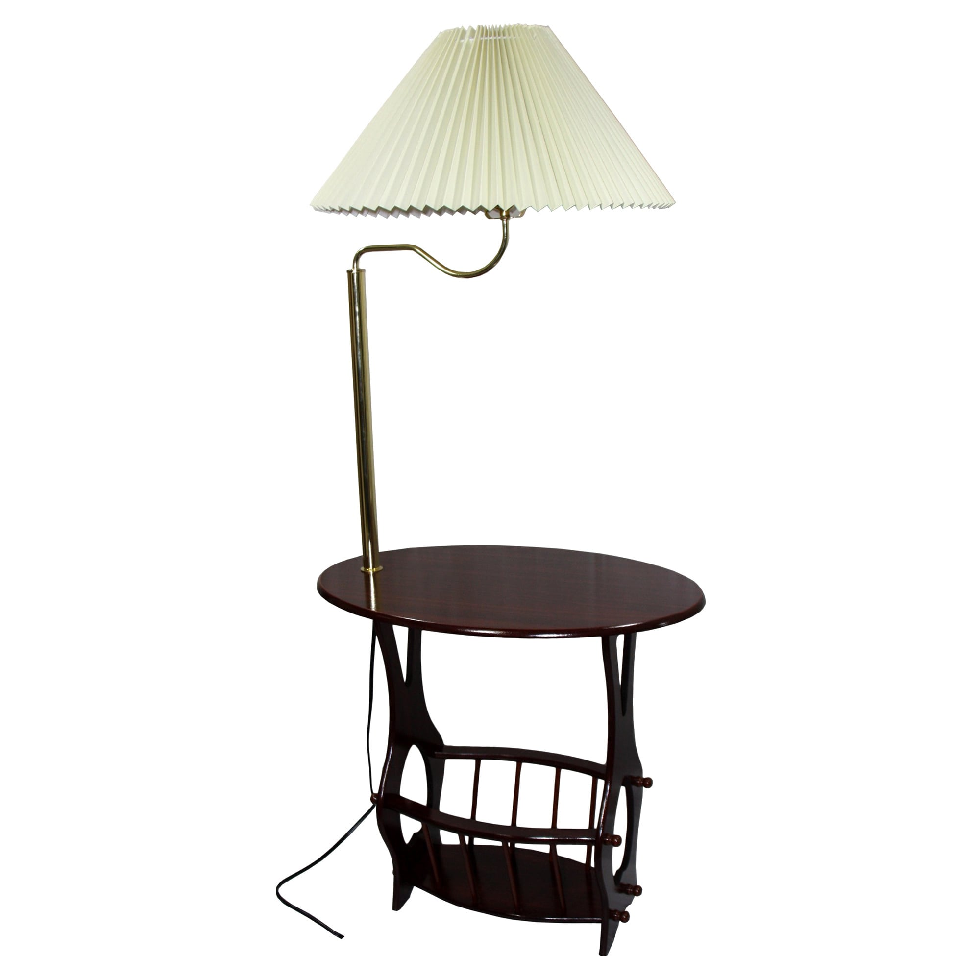 ORE International Brass Floor Lamp End Table with Magazin...