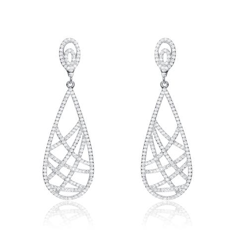 514c7eadc Collette Z Sterling Silver with Rhodium Plated Clear Round Cubic Zirconia  Pear Drop Earrings