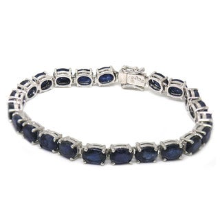 De Buman Sterling Silver Natural Ruby or Sapphire Bracelet