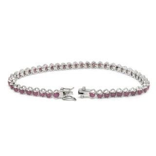 De Buman Sterling Silver Natural Ruby, Sapphire or Amethyst Bracelet
