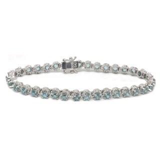De Buman 925 Silver 8 1/3ctw Natural Blue Zircon Bracelet