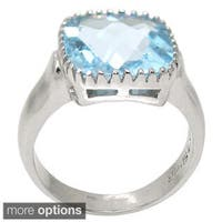 De Buman Sterling Silver Natural Blue Topaz or Amethyst Ring