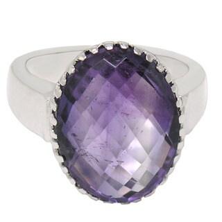 De Buman Sterling Silver Natural Amethyst Ring