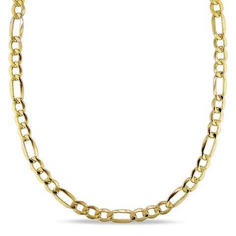 Miadora 10k Yellow Gold Men's 20 Inch Figaro Link Necklace