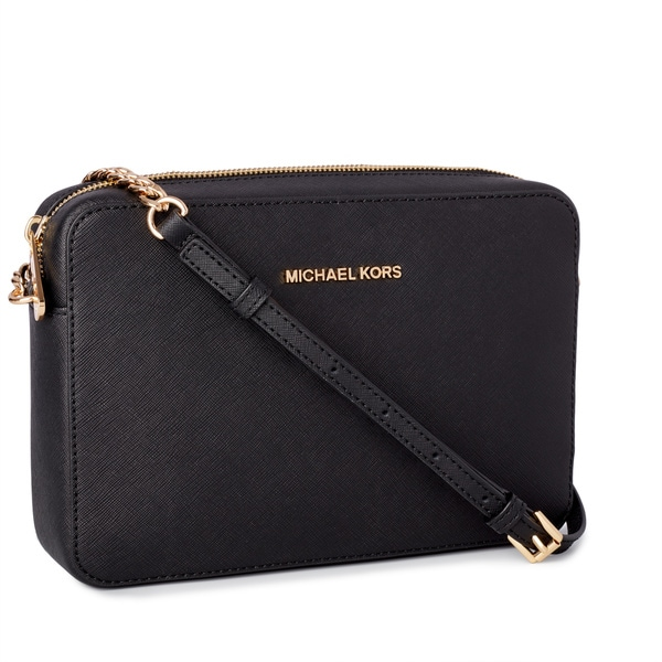 5e6a377ee2e3 Shop Michael Kors Jet Set Travel Large East  West Black Crossbody ...