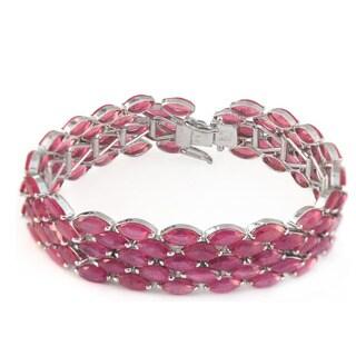 De Buman Sterling Silver Natural Ruby 5-row Bracelet