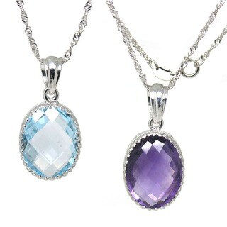 De Buman Sterling Silver Natural Gemstone Topaz Necklace