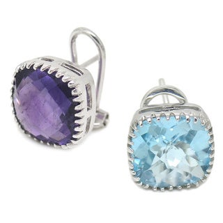 De Buman Sterling Silver Natural Blue Topaz or Amethyst Earrings