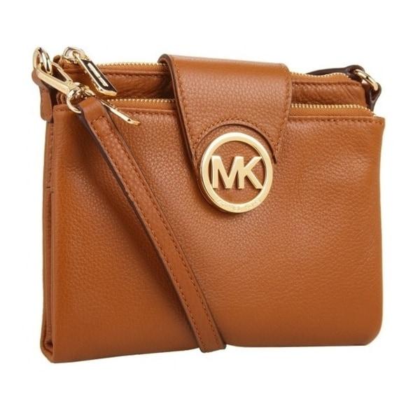 shop michael kors fulton large luggage brown crossbody handbag rh overstock com