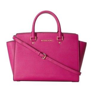 Michael Kors Selma Fuschia Saffiano Large Top-Zip Satchel Handbag