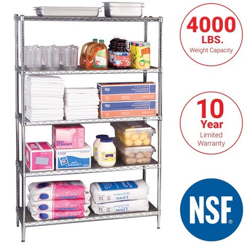 Seville Classics UltraDurable Commercial-Grade 5-Tier Steel Wire Shelving with Wheels, 48 in W x 18 in D x 72 in H
