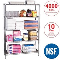 Seville Classics 5-Tier UltraZinc NSF Steel Wire Shelving /w Wheels