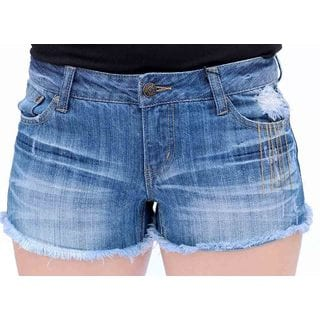 Juniors' Deconstructed Shorts With Gold Chains