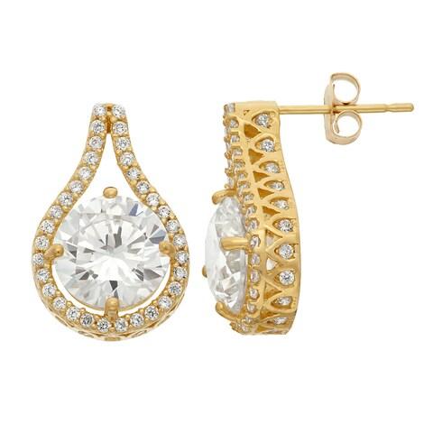 10k Yellow Gold Cubic Zirconia Designer Teardrop Earrings